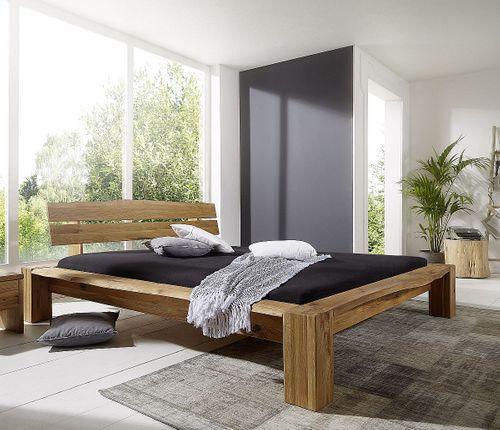 Balkenbett 140x200 Wildeiche massiv Bett rustikal Bettgestell geölt – Bild 1
