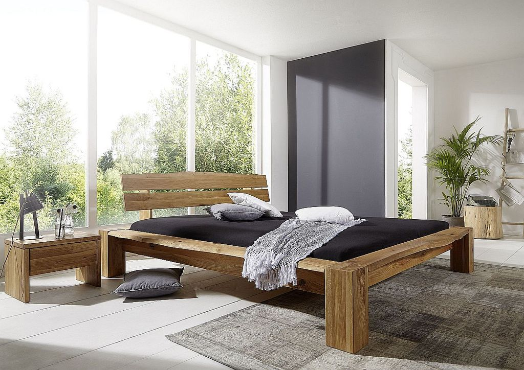 bett 180x200 210x84x230cm bettgestell und kopfteil mit baumkante wildeiche massiv ge lt. Black Bedroom Furniture Sets. Home Design Ideas