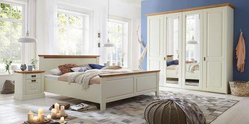 Massivholz Schlafzimmer Kiefer creme lackiert 4tlg. Wildeiche geölt abgesetzt Doppelbett – Bild 1