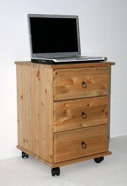 Rollcontainer 46x69x49cm, 3 Schubladen, Massivholz geölt
