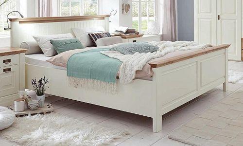 Massivholz Schlafzimmer Kiefer creme lackiert 4tlg. Wildeiche geölt abgesetzt Doppelbett Kleiderschrank Nachttische – Bild 2