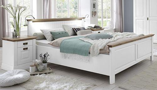 Massivholz Bett 140x200 Weiss lackiert/Wildeiche Komforthöhe 42 cm Landhausstil – Bild 1