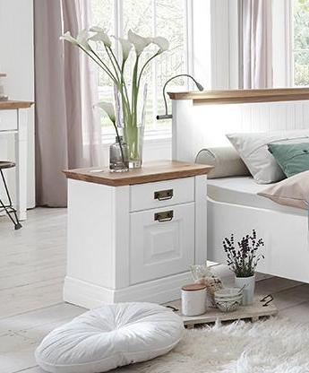 Massivholz Schlafzimmer 180 Kiefer weiß lack. 4tlg. Wildeiche geölt Doppelbett – Bild 6