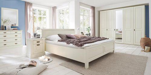 Massivholz Bett 140x200 Kiefer Weiß Komforthöhe 42 cm Landhausstil – Bild 3