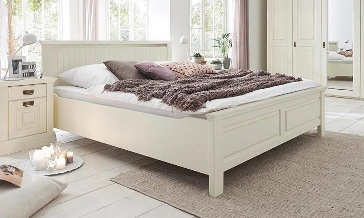 Bett 160x200 Kiefer massiv weiß lackiert Komforthöhe 42 cm - NORDIC ...