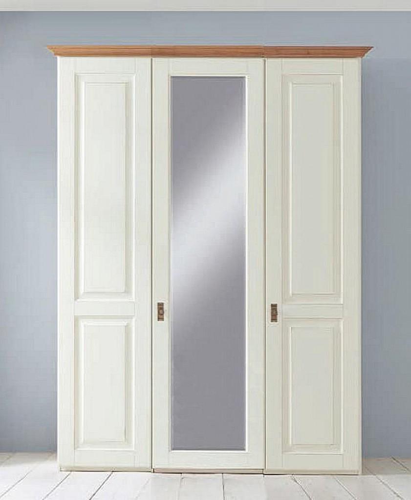 Massivholz Kleiderschrank Weiß 3türig 164x228cm Kiefer Massiv Mit Spiegel  Schrank Im Landhausstil