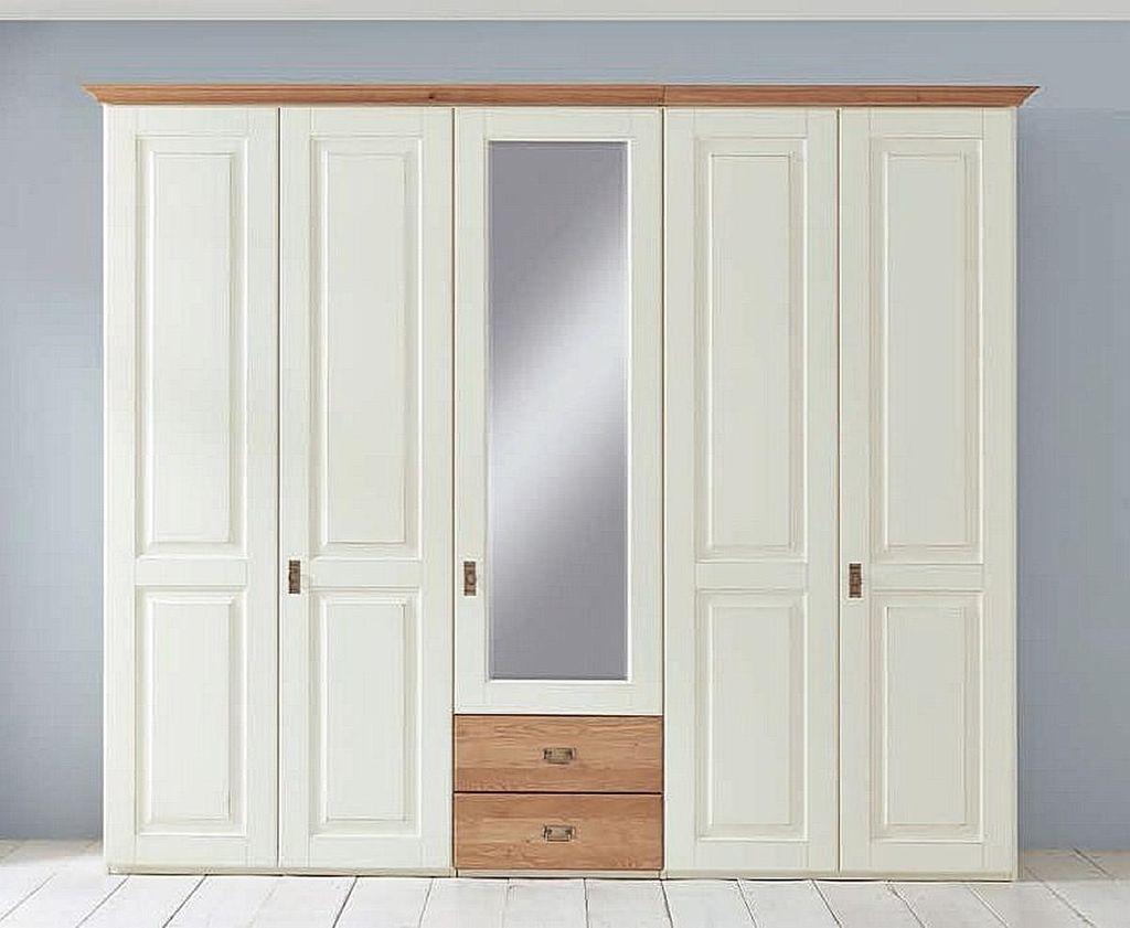 Massivholz Kleiderschrank Weiß 5türig 275x228cm Kiefer Massiv Schrank  Landhausstil Mit Spiegel