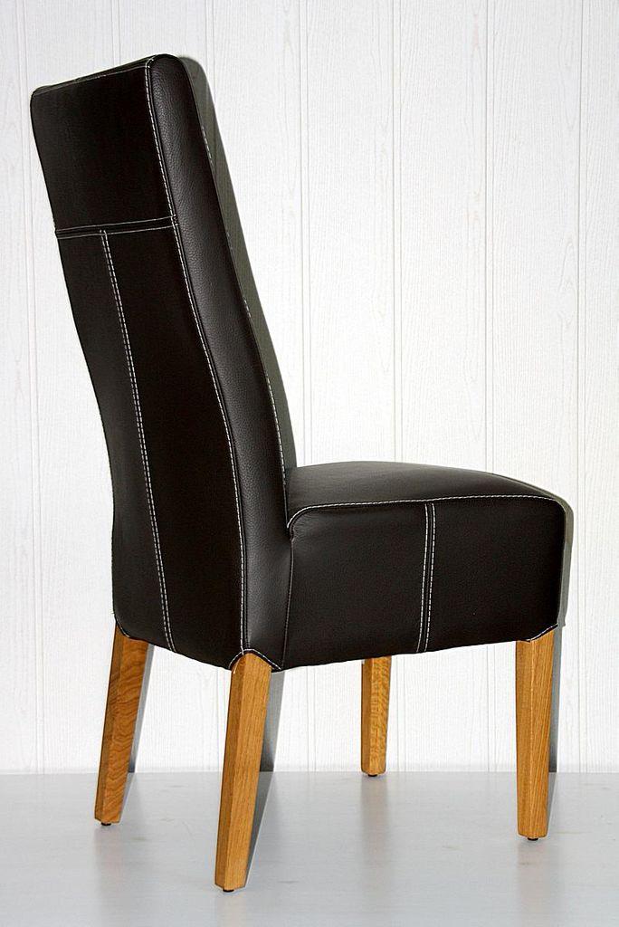 Stuhl 46x103x65cm Leder Toledo Caffee Kontrastnaht Weiß Eiche