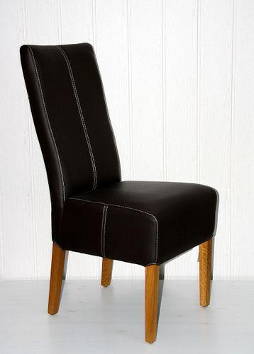Polster-Stuhl Toledo-Leder braun Eiche massiv geölt – Bild 1