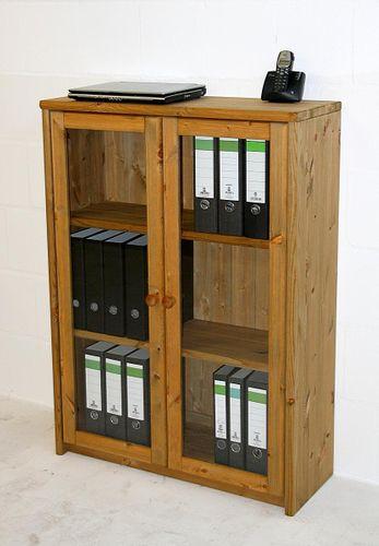 Bürovitrine Kiefer massiv Büroschrank klein Aktenschrank gelaugt geölt – Bild 2