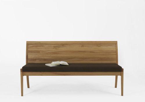 Massivholz Sitzank mit Lehne 150 cm Kernbuche Stoff Polster braun Küchenbank Casera – Bild 1