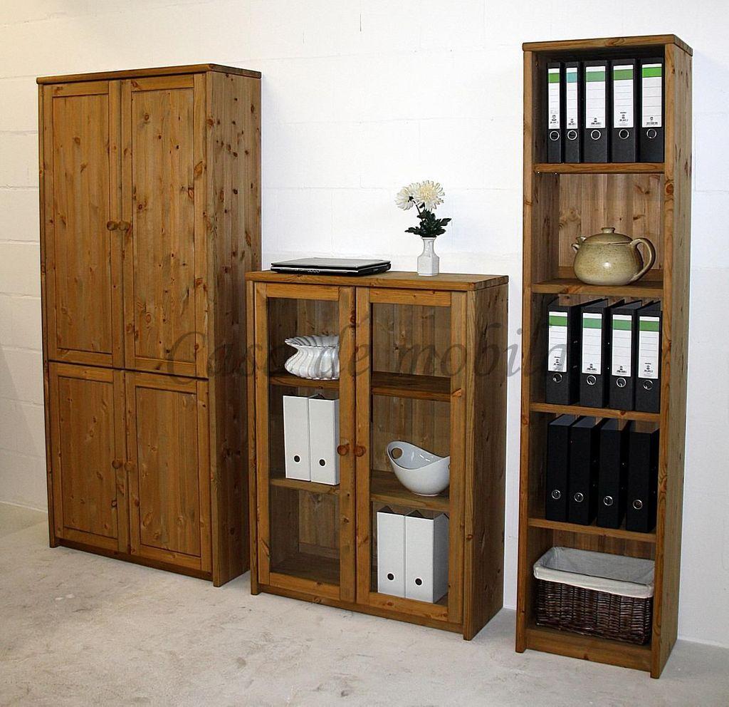 schrank 89x199x33cm 4 holzt ren 3 einlegeb den kiefer massiv gelaugt ge lt. Black Bedroom Furniture Sets. Home Design Ideas