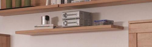 Massivholz Wandboard Casera 60 bis 165 cm Kernbuche Regal mit Tablarträger zur Wandmontage – Bild 1