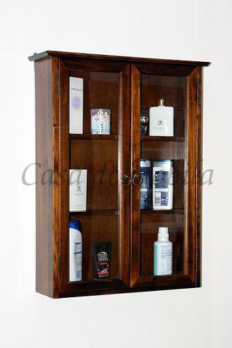 Badezimmer Hängevitrine nussbaumfarben Hängeschrank schwarzbraun massiv Hausapotheke dunkelbraun mit 2 Glastüren – Bild 1