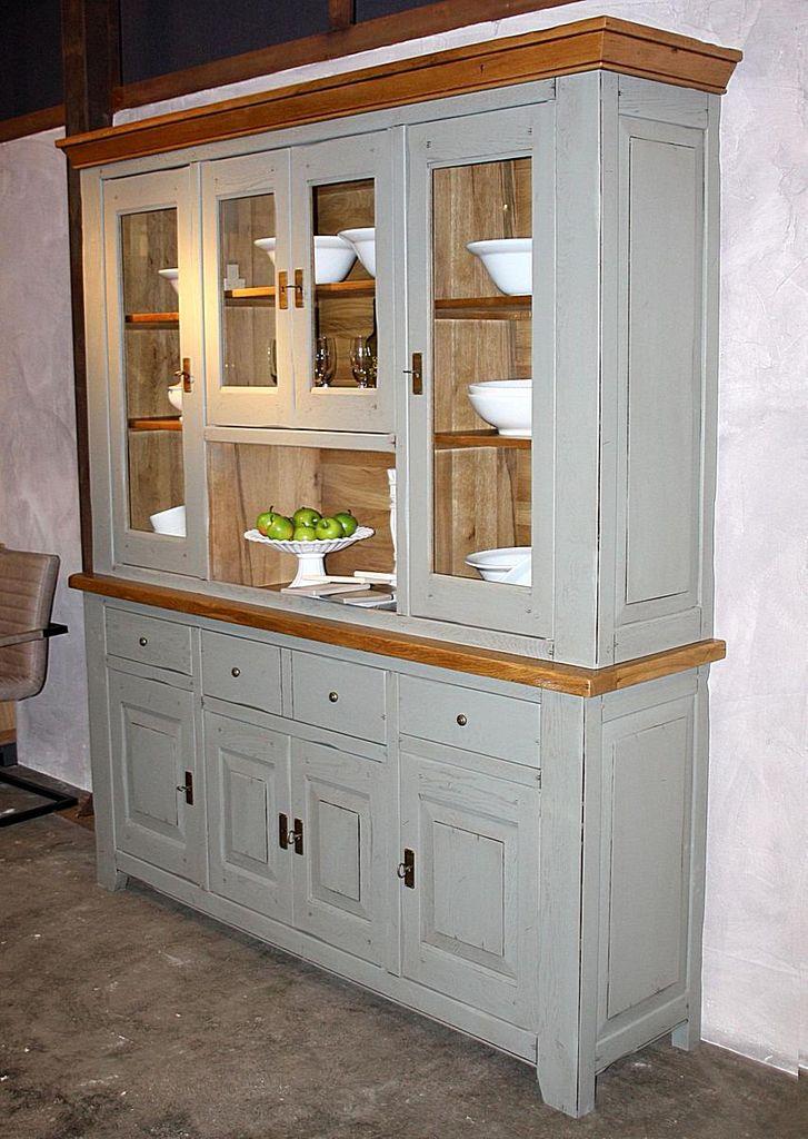 buffet schrank 193x221x49cm eiche massiv 2farbig graugr n blond antik lackiert. Black Bedroom Furniture Sets. Home Design Ideas