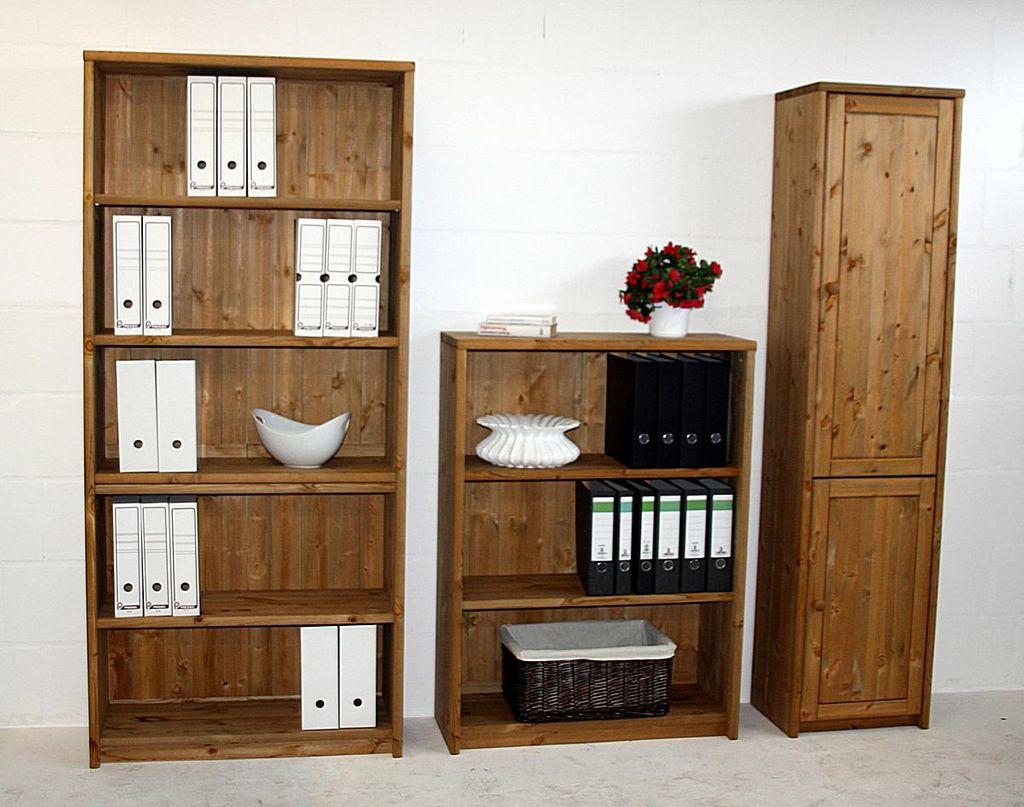 b rowand 3teilig regal gro regal klein schrank schmal kiefer massiv gelaugt ge lt. Black Bedroom Furniture Sets. Home Design Ideas