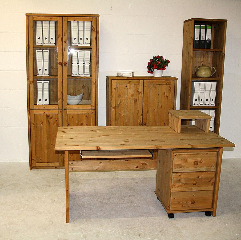 Schreibtisch 160x74x78cm kiefer massiv gelaugt ge lt for Schreibtisch in kiefer