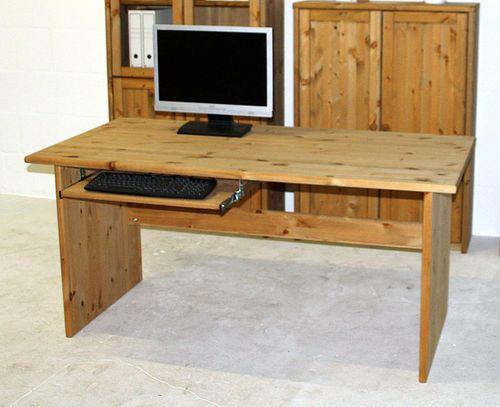 Schreibtisch 160cm Kiefer massiv Bürotisch gelaugt geölt – Bild 1