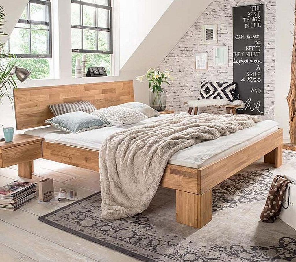 bett 180x200 kopfteil geschlossen wildeiche massiv ge lt. Black Bedroom Furniture Sets. Home Design Ideas