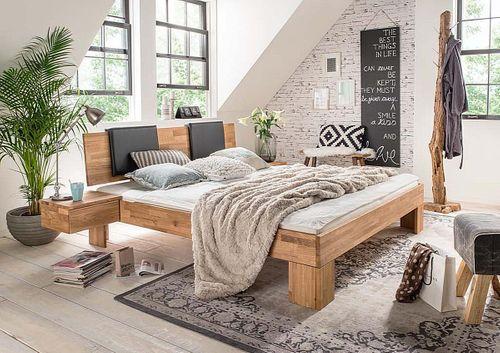 Bett 160x200 mit Leder-Polster Wildeiche Doppelbett massiv geölt – Bild 2