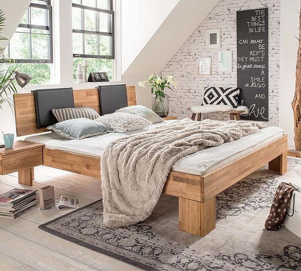 bett 180x200 kopfteil mit leder polster wildeiche massiv ge lt. Black Bedroom Furniture Sets. Home Design Ideas