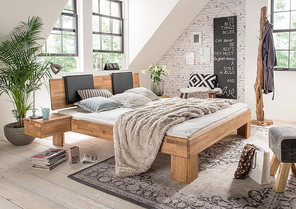 bett 200x200 kopfteil mit leder polster wildeiche massiv ge lt. Black Bedroom Furniture Sets. Home Design Ideas