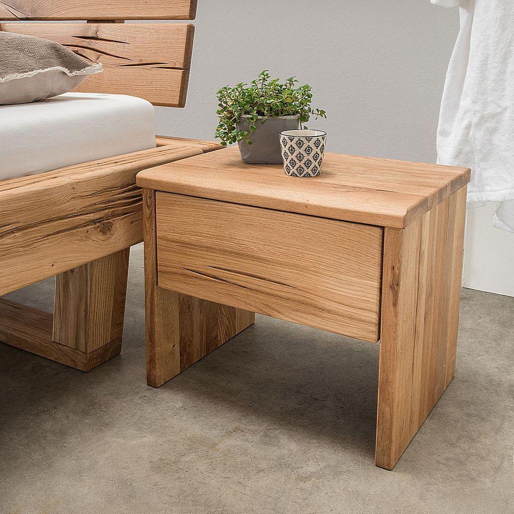 nachtkommode 50x42x36cm 1 schublade wildeiche rustikal massiv ge lt. Black Bedroom Furniture Sets. Home Design Ideas