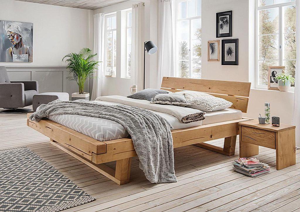 Balkenbett 160x200 Fichte geölt Unikat nordisches Massivholz rustikal – Bild 2