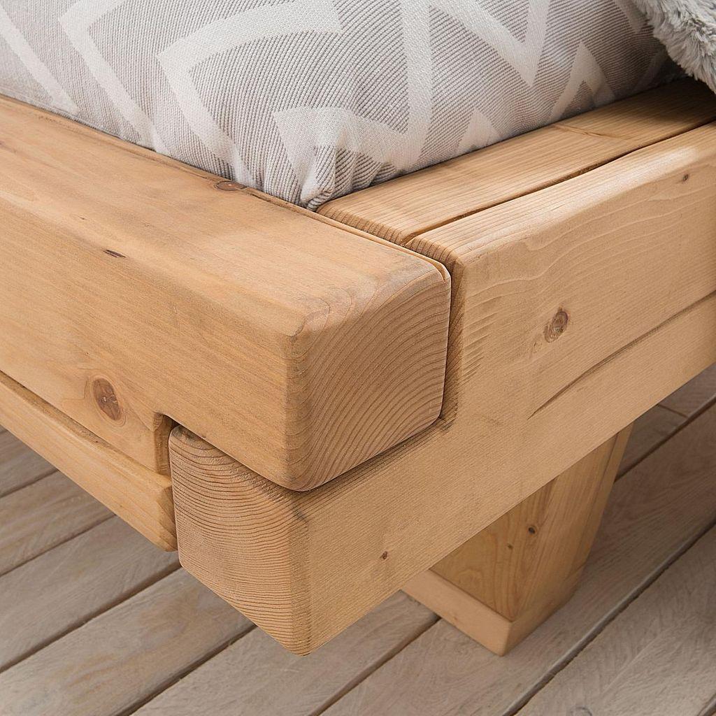Balkenbett 160x200 Fichte geölt Unikat nordisches Massivholz rustikal – Bild 4