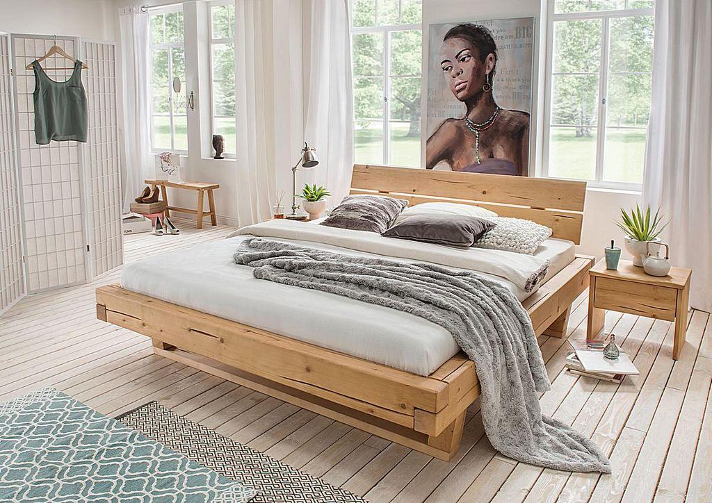 Balkenbett 160x200 Fichte geölt Unikat nordisches Massivholz rustikal – Bild 3