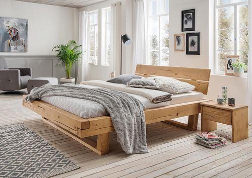 Balkenbett UNIKAT 160x200 Fichte geölt nordisches Massivholz rustikal – Bild 2