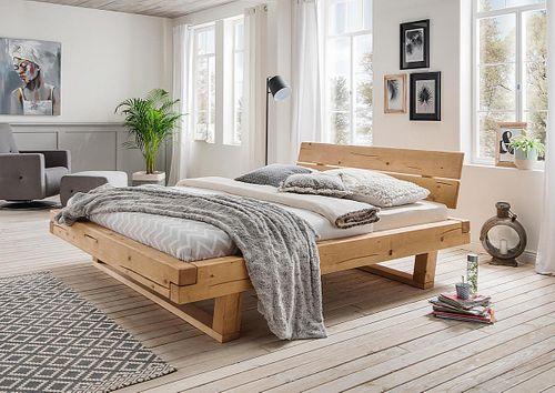 Balkenbett 160x200 Fichte geölt Unikat nordisches Massivholz rustikal – Bild 1
