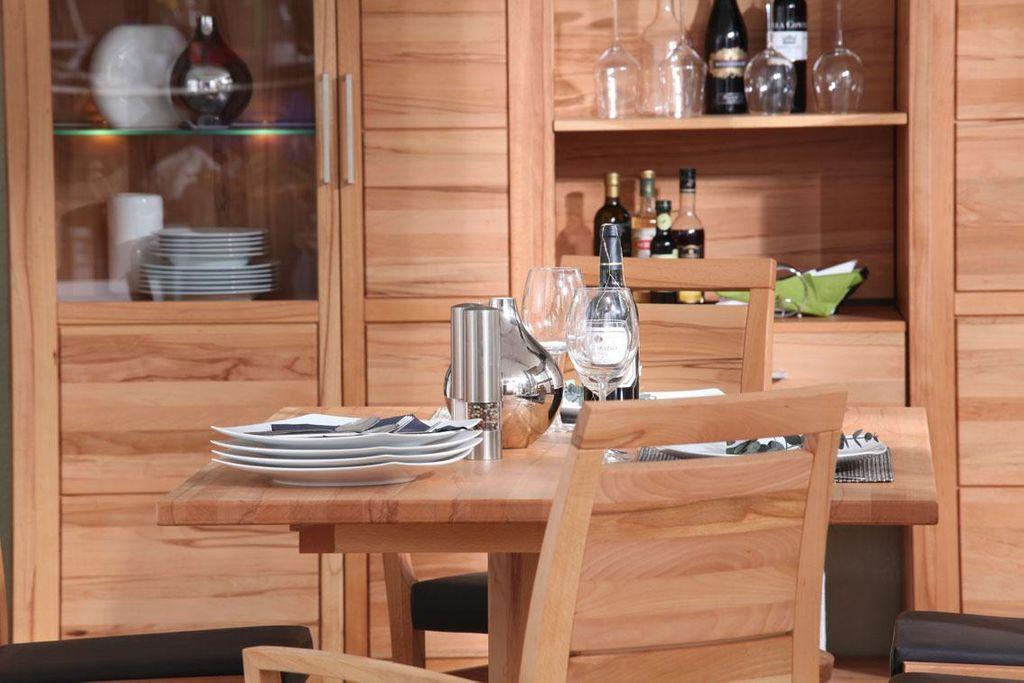 Massivholz Essgruppe 150 Säulentisch Kernbuche massiv natur geölt CASERA 7tlg. Set Tisch und Stühle – Bild 5