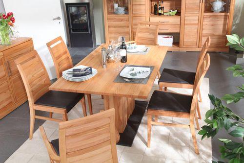 Massivholz Essgruppe 210 Säulentisch Kernbuche CASERA Esszimmer Set 210x95 Tisch und Stühle – Bild 2
