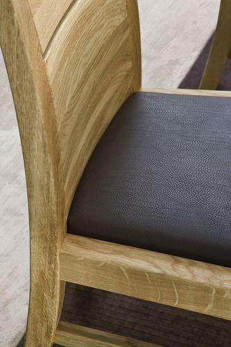 Massivholz Eckbankgruppe Eiche Tisch 150x95 mit Wangentisch und 2 Esszimmerstühlen Lederpolster braun – Bild 2