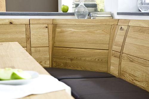 Massivholz Eckbankgruppe Eiche Tisch 170x95 und 2 Esszimmerstühlen Lederpolster braun Essgruppe Casera – Bild 2