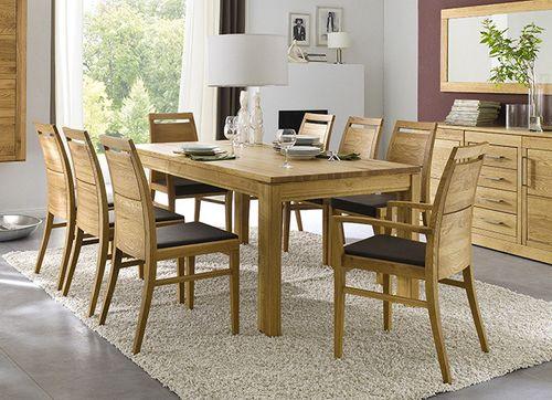 Massivholz Essgarnitur Tisch 190x95 Eiche 9tlg. Set großer Tisch und Stühle – Bild 1