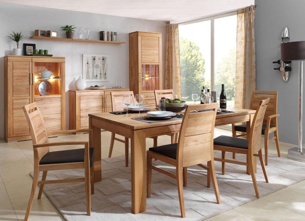 Massivholz Esszimmer Komplett Tisch 150x95 Cm Kernbuche