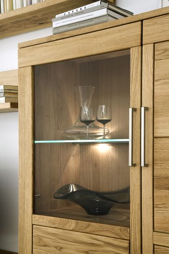 Highboard CASERA 100x154x42cm Asteiche rustikal Glastür links – Bild 2