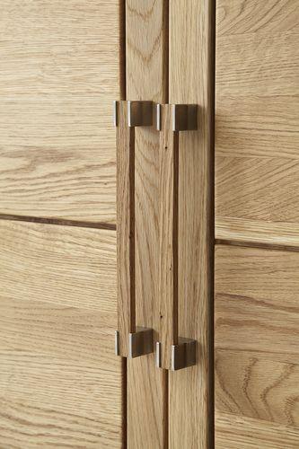 Massivholz Vitrine schmal rechts Holzschrank 64x217,6x42 cm  – Bild 2