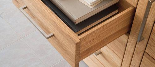 Massivholz Geschirrschrank 2türig Asteiche Highboard Mehrzweckschrank – Bild 5