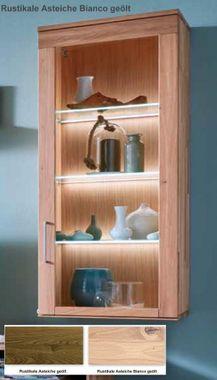 Hängeschrank Asteiche massiv Esszimmerschrank Casera Schrank mit Glas 64x142,4x42 cm