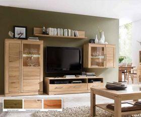 Wohnwand 4teilig Casera - Kernbuche oder Asteiche massiv 335x190x42/60 cm