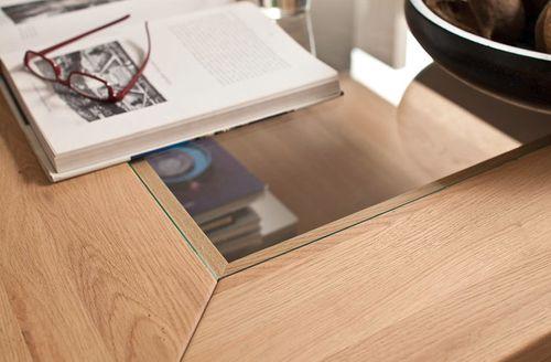 Massivholz Couchtisch Eiche mit Ablage 90x90 Asteiche cm Glasplatte klar – Bild 2