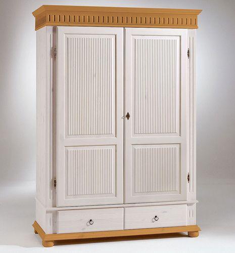 Kleiderschrank 2türig Kiefer Wäscheschrank massiv Vollholz weiß antik – Bild 1
