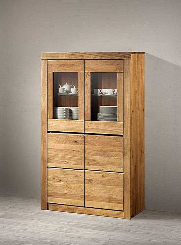 Highboard 95x155x41cm 2 Holzturen 2 Glasturen Massivholz Natur Geolt