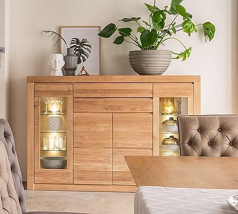 highboard 175x120x44cm 2 holzt ren 2 glast ren 2 schubladen massivholz natur ge lt. Black Bedroom Furniture Sets. Home Design Ideas