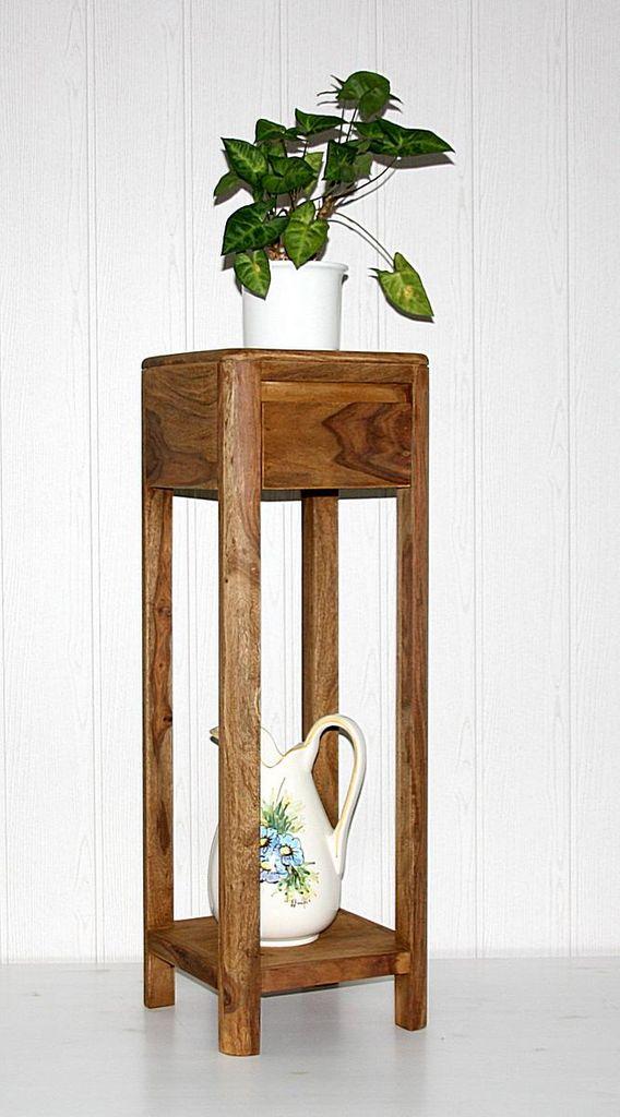Blumentisch 90cm Vollholz Beistelltisch Palisander massiv Sheesham – Bild 1
