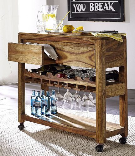 Weinregal Vollholz Flaschenregal Palisander massiv Sheesham – Bild 1
