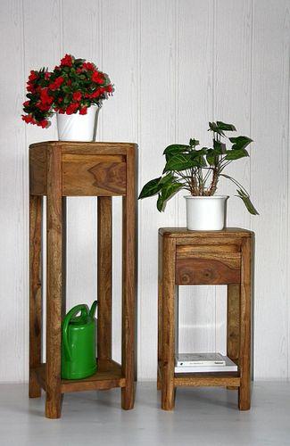 Blumentische Vollholz Beistelltisch-Set Palisander massiv Sheesham – Bild 1